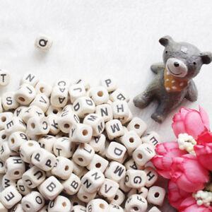 50pcs Natural Wooden A-Z Alphabet Letter Cube Beads DIY Craft Tool 10mm - L50