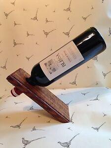 Solid Dark Oak Magic Floating Wine Bottle Holder, Beautiful Wood Grains, Unique!