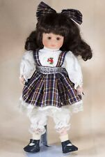"Collector's Porcelain Girl Doll By Brinn's Brown Hair Brown Eyes 13"" 1991"