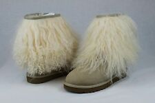 UGG CLASSIC SHORT CUFF MONGOLIAN SHEEPSKIN SAND BOOT WITH THE FUR! SIZE 10 US