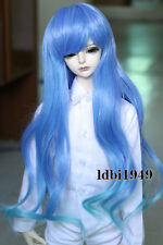 "1/3 8-9""LUTS Pullip SD BJD Doll Wig Long Blue Curly Hair"