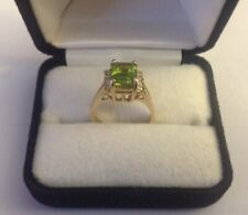 Solid 14k Gold Paridot Gemstone Vintage Ring With Diamonds Woman Jewelry Sz 7
