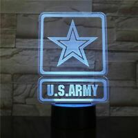 Army Logo Illusion LED Lamp, 3D Light Experience - 7 Colors Options