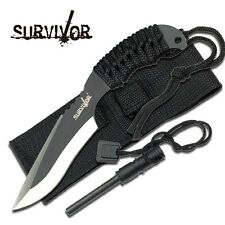 "SURVIVOR 7"" Fixed Blade Tactical Knife with Sheath Hunting Bowie Survival NEW"