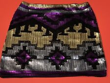 "Envy Me ""AZTEC DESIGN-SMALL"" Black/Gold/Silver/Fuchsia Sequin Mini-Skirt, NWT"
