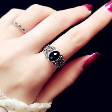 2Stk. Damenring Schwarz Kunst Onyx Ring Fingerring Ring Modeschmuck Geschenk
