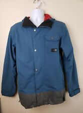 Northface zip up light Jacket with hood aqua blue mens size Small petite
