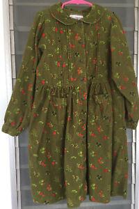 Vintage Gymboree Girls Corduroy Dress Sz XL 5-6 Yrs Green Floral Pleated Pockets