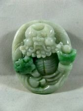 Pendente Giada Giadeite Naturale Grado A incisa a mano,  scultura arte Cinese