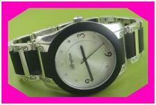 Heavy Watch Nwtag w Pouch $125 Brighton Brooklyn Black Silver Round Face Unisex