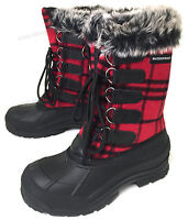 New Women's Winter Boots Flannel Plaid Fur Warm Insulated Waterproof Hiking Snow