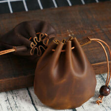 Genuine Leather Wallet Coin Pouch Case Drawstring Bag Small Purse
