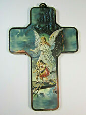 "Guardian Angel Picture Wall Cross on Wood  5"" Made in Italy"