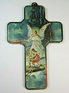 """Guardian Angel Picture Wall Cross on Wood  5"""" Made in Italy"""