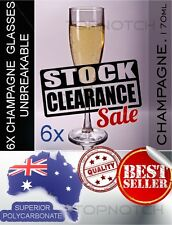 6 x UNBREAKABLE POLYCARBONATE CLEARANCE CHAMPAGNE GLASSES - (v) 170ML (5oz)