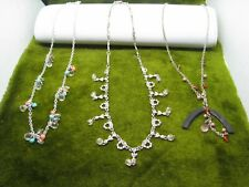 3 CUTE LIGHTWEIGHT CHAIN N BEADS -RHINESTONES-NECKLACES 16 INCH LONG