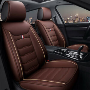 Brown Universal Car Seat Covers Pu Leather Universal Cushion Covers Full Set