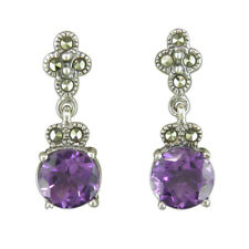 Sterling Silver Earring Amethyst and marcasite drop
