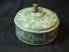 Beautiful Vintage Chinese Cloisonne Round Covered Sectional Box w/Foo Dog Finial