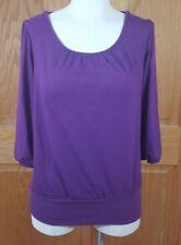 AGB Women's Purple Lace Draped Back Shirt Size Medium