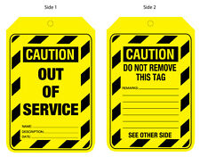 Caution Out Of Service Tags 90x140mm Card Lockout Tagout Pkt 100 Safety UCT203