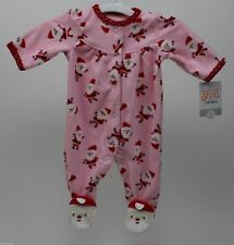 Christmas Carter s Pink   Red Footed Fleece Blanket Sleeper Santa Size  Newborn 1e4029157