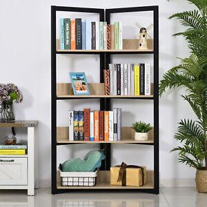 4-Tier Triangle Storage Shelf Bookshelf Display Unit Cabinet Steel Frame
