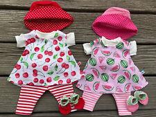 Puppenkleidung für my first Baby Puppen Gr. 36-38 cm Kirschen Melonen Sommerset