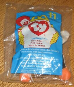 1998 Ty Teenie Beanie Baby McDonalds Happy Meal Plush Toy Waddle the Penguin #11