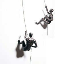Climbing Men Set of 2 figurines Bronze Large x2 Wall Climbers Hanging Abseiling