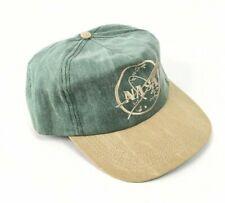 Vintage Olive & Gold Denim Style NASA Embroidered SnapBack Hat Cap NEW 90s