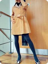 LeChateau Blazer Coat suede faux Leather LambSkin design ALine belt DBreasted M