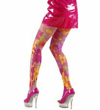 Collant Fucsia Fantasia Travestimento Carnevale Calze Rosa a Fiori Donna Hippie