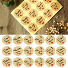 Thank You Round Kraft Paper Stickers Labels with Red Heart  Label Envelope Gift