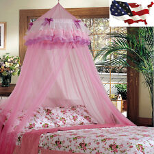 Home Princess Lace Netting Mesh Round Dome Bed Mosquito Bedding Tent Canopy Us