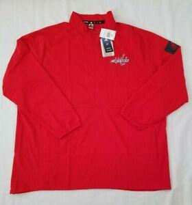 Mens 2XL Red Adidas GameMode 1/2 Zip LS NHL Washington Capitals Pullover Jacket