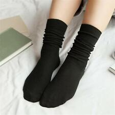 Women Fall Winter Pure Retro Cotton Thin Socks Soft Solid Color Casual Stockings
