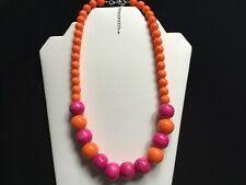 Women's Orange And Pink Bead Necklace