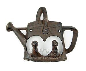 Watering Can Key Rack Teapot Hooks Towel Coat Hanger Cast Iron Antique Style