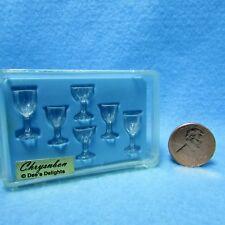 Dollhouse Miniature Chrynsbon Clear Goblet Stemware / Glassware Set ~ CB110CC