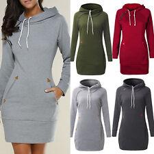 Damen Kapuzen Pullover Kleid Longshirt Winter Sweatshirt Hoodie Tunic Minikleid