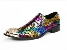 Mens Leather Rainbow Colors Metal Pointed Toe Dress Formal Shoes Party Low Heels