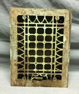 Antique Cast Iron Decorative Gothic Heat Grate 7x10 Register Silver Old 198-21B