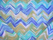 1+Y  P KAUFMANN BLUES / GREEN CHEVRON BARGELLO PRINT DRAPERY UPHOLSTERY FABRIC