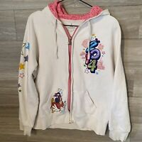 2014 DISNEY PARKS zip up hoodie sweatshirt size large Pink And White