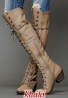 Roman Women Lace Up Block Chunky Heels Leather Knee High Riding Boots Shoes Punk