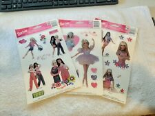 RARE!Vintage 1998 Lot Of 3 Sheets of New Barbie Window Cling Decorations