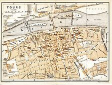 37 Tours 1895 plan ville + guide (6 p.) hôtels tram  Béranger Heurteloup St-Cyr