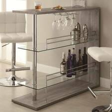 Bar Table with Two Glass Shelves in a Weathered Gray Finish by Coaster 100156
