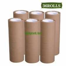 "36 Rolls 2"" x 55 Yards 165' Carton Sealing Brown Packing Shipping Box Tape New"